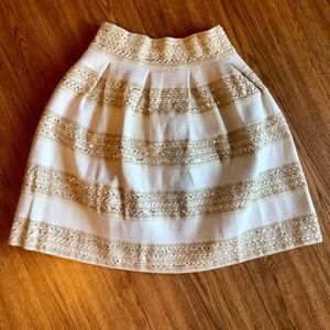 Gold Striped Sequined Skirt